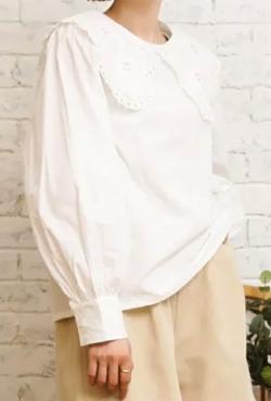 どうせもう逃げられない・横田真悠ドラマ衣装ホワイトのレース襟ブラウス