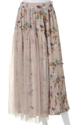 どうせもう逃げられない・横田真悠ドラマ衣装ベージュの花柄チュールドッキングスカート