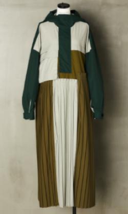 有吉の壁佐藤栞里衣装グリーン系のブロックデザインワンピース