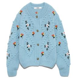 ブルーの玉編みx花柄刺繍カーディガン