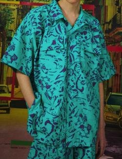 彼女はキレイだった(かのきれ) 赤楚衛二(樋口拓也)ドラマ衣装ブルー系の総柄シャツ