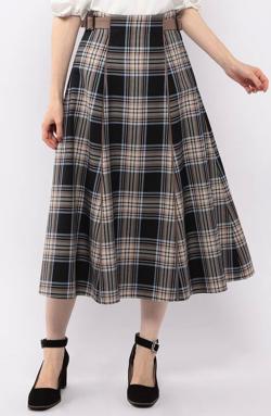 ブラックxベージュのチェック柄スカート