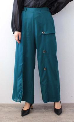 ZIP!水卜麻美 (みとちゃん)衣装ブルーのサイドプリーツパンツ