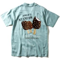 【家族募集します】重岡大毅・仲野太賀ドラマ衣装ライトカーキのアイスクリームプリントシャツ