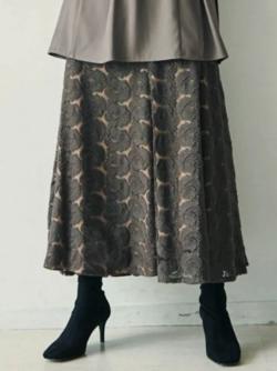 スッキリ・岩田絵里奈衣装ブラウンの刺繍レースマーメイドスカート