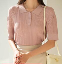 めざましテレビ井上清華衣装ピンクのポロシャツ風ニット