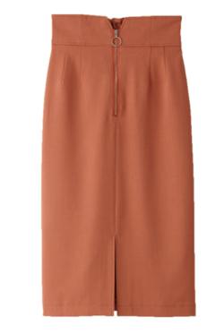 めざましテレビ井上清華衣装オレンジのフロントZIPタイトスカート