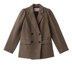 ZIP貴島明日香衣装ライトブラウンのチェック柄ジャケット