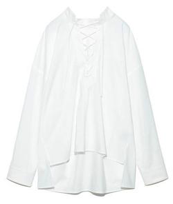 推しの王子様(おしプリ)・ドラマ衣装比嘉愛未ホワイトのレースアップシャツ