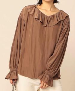 ZIP!水卜麻美 (みとちゃん)衣装ブラウンのフリルブラウス