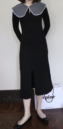 堀未央奈(ほり みおな)衣装ブラックのチェックレース付ワンピース