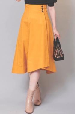 めざましテレビ井上清華衣装マスタードイエローのフレアスカート