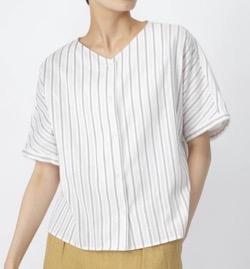 【うきわ】門脇麦・西田尚美・蓮佛美沙子・森山直太朗ドラマ衣装ストライプの半袖シャツ