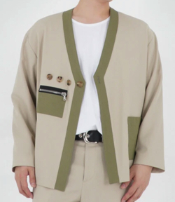 ベージュxカーキのジャケット