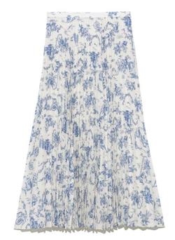 ZIP!・石川みなみ衣装ホワイトxブルーのプリーツスカート