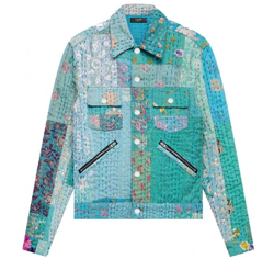 ブルー系の小花柄シャツジャケット