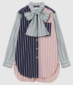 ネイビーxピンクのストライプ柄ボウタイシャツ
