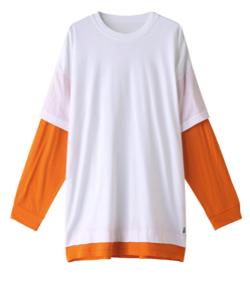ホワイトxオレンジのレイヤードロンT
