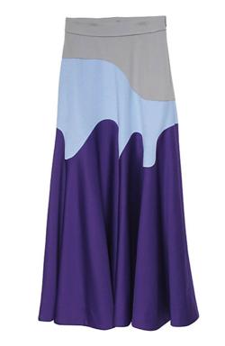 ライトブルーxムラサキのウェーブスカート