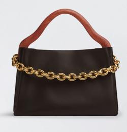 ブラックxブラウンのハンドバッグ