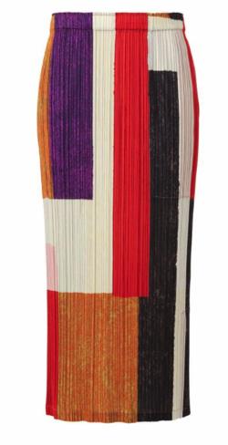 オレンジ系のカラーブロックプリーツスカート