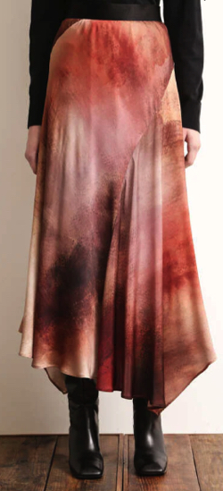 ブラウンのアートプリントスカート