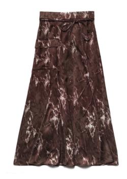 ブラウンの大理石柄スカート