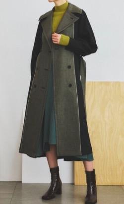 【奈緒】ブラックとグレーの配色コート